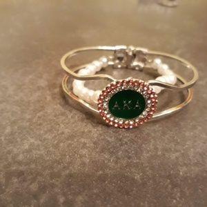 Alpha Kappa Alpha AKA Rhinestone/Pearl Bracelet